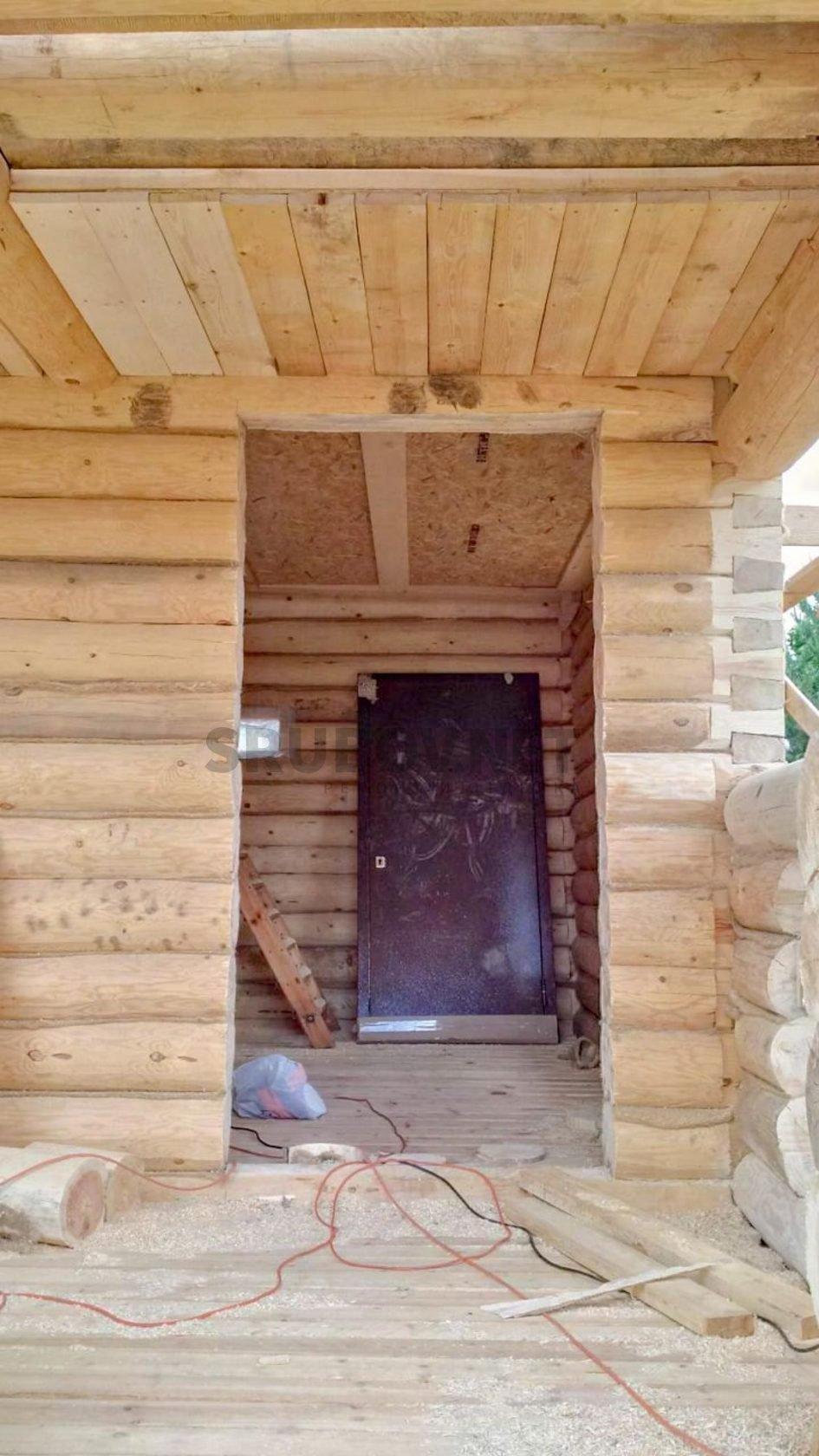 Шлифовка и покраска сруба бани, г. Новая Ладога, ЛО.